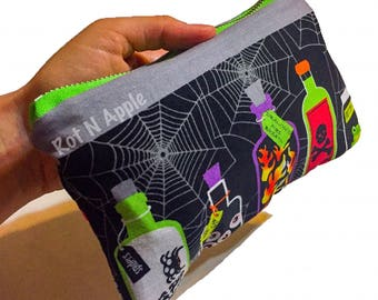 Potions and spells grey Zipper Pouch - Cosmetic Purse - Makeup Bag - Fully Lined zipper Pouch -Bag - Purse