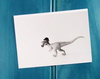 On the Hunt Dinosaur Blank Greeting Card