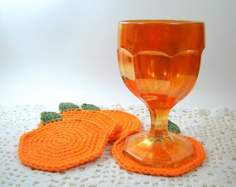 Pumpkin Coasters, Set of 4 Crochet Pumpkin Coasters, Thanksgiving Table Decor, Halloween Pumpkin Coasters, Fall Coasters, Ready to Ship