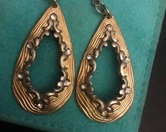 Vintage elegant two toned drop earrings with rhinestone accents