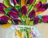 Oil Painting Impasto oil Art canvas magenta tulips wall art  thick paint tulip painting