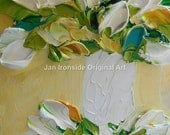 Impasto painting, Original Oil Painting, white tulips, Canvas wall decor