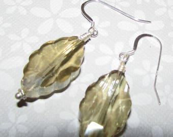 Sterling Silver & Large Champagne Crystal Earrings on Etsy by APURPLEPALM