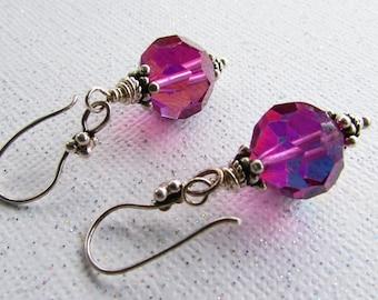 Vintage Purple AB Swarovski Crystals and Sterling Silver Earrings on Etsy by APURPLEPALM