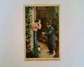 """Antique """"Missis, will yer please sew me a shirt on this button?"""" postcard with US stamp and postmark from 1907, vintage"""