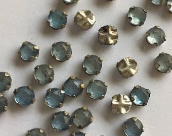Vintage  3.75mm Swarovski Rose Montee 2 hole sew ons -  Pale Blue/ Silver Setting