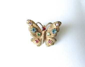 Vintage Rhinestone Butterfly Pin Brooch Insect Morpho Gold Tone Multi Color