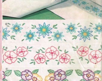 60s Embroidery Transfer Simplicity 4736 Floral Border Embroidery Transfers for Sheets Pillowcases Uncut Vintage Embroidery Transfers