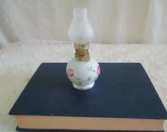 Kerosene Lamp  Small Milk glass Raised Rose Decor
