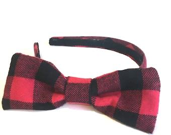 Buffalo Plaid / Checkered Red and Black Plaid - Holiday Plaid Bow Headband -  Adult Bow Headband - Big Girls Bow Headband for Holidays
