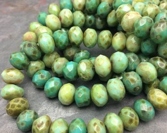 Forest Picasso Mix 6x8mm Rondelles, from Dream Girl Beads