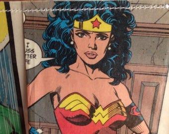 SALE Wonder Woman comic book vinyl wallet. Female Super hero. Diana. Amazon. Handmade from vintage comic books. DC comics.