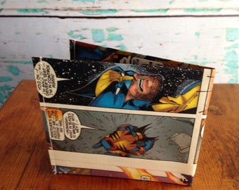 SALE Marvel X Men Wolverine comic book vinyl wallet. Super hero. Handmade from vintage comic books.