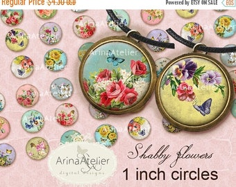 SALE - 30%OFF - CIRCLES 1 inch Shabby Flowers - Circles 1inch - Digital Collage Sheet for 1 inch Earrings - Bottle caps - Pendants - Magnets