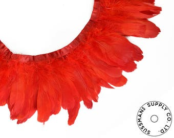 """Feather Trim - Goose Feather Satinette Fringe Trims - Poppy Red - 5""""-7"""" (1 yard)"""