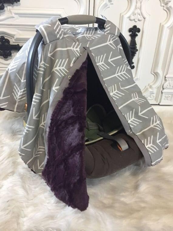 Car seat canopy Minky inside , LAST ONE ready to ship