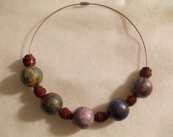 Hand-painted beads and leather necklace