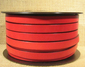 10mm Flat Leather - Red - 10F-8 - Choose Your Length