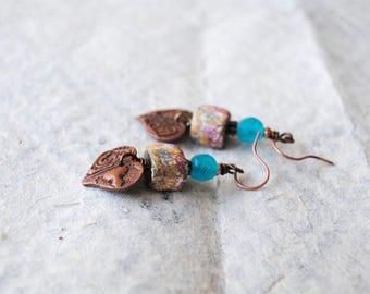 Paisley Heart Earrings, Copper Heart Earrings, Valentine's Day Earrings, Sweetheart Earrings, Ceramic Floral Earrings, Boho Chic Earrings