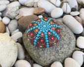 Blue Red Mandala Rock with Bonus Peace Rock