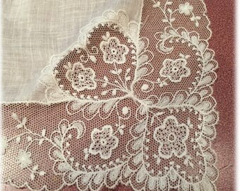 Something Old Bridal Handkerchief, Lace Hankie, Heart Lace, Love Wedding Bride Hankie, Linen and Tambour Lace Hankie