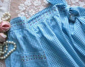Cross Stitched Turquoise Gingham Half Apron, Hostess Apron, Cottage Charm, by mailordervintage on etsy