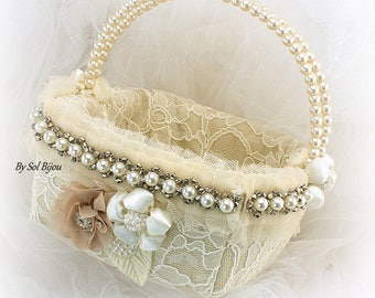 Flower Girl Basket Champagne Ivory Gold,Square Lace Flower Girl Basket with Pearls, Ready To Ship