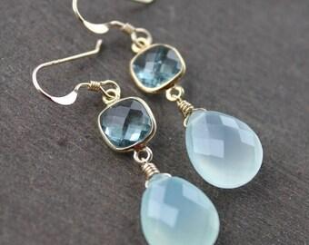 ON SALE Gold Aqua Chalcedony Earrings - with Teal Quartz Gemstones - 14K Gold Fill, Sea Green