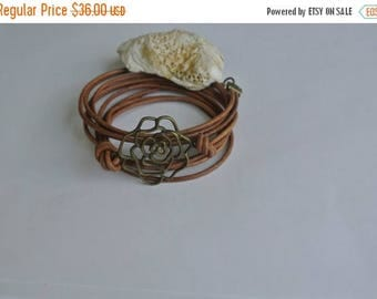 50% OFF SALE Natural Leather Brass Rose Wrap Bracelet