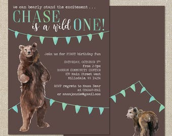 Wild One First Birthday Invitation - Watercolor Bear - Digital Printable File