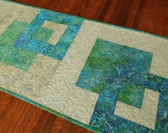Modern Quilted Batik Table Runner in Aqua Blue Purple Green, Beach Decor, Dining Table Decor, Bedroom Dresser Runner, Coffee Table Runner