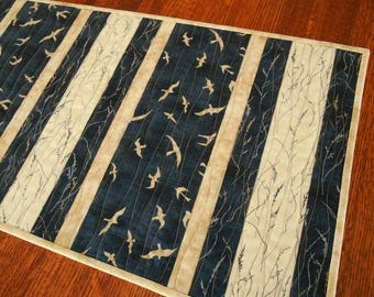 Seagull Quilted Table Runner in Indigo Tan and Cream, Bird Table Runner, Beach Decor, Dining Table Runner, Coffee Table Runner, Table Quilt