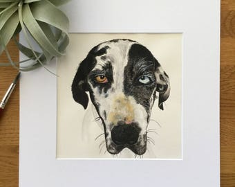 Great Dane - Original Watercolor Artwork - Dog Portrait - Watercolor Painting - Louie - Dog Lover - Matted - Ready to Frame