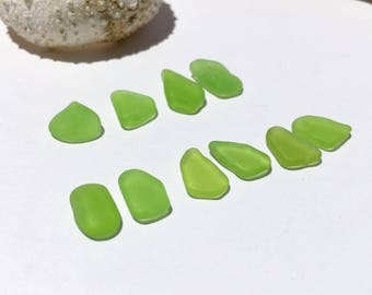 10 Drilled or Undrilled  Genuine Sea Glass Charms Lime  (012)