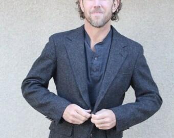 SALE SALE SALE Vintage Mens Suit Coat Jacket Gray Grey Herringbone Wool Tweed Size Medium Chest 42 Fall Winter Fashion Hipster Wedding