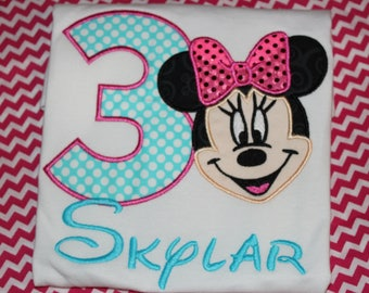 Minnie 3rd birthday shirt - baby bodysuit, tshirt, or dress- you pick colors- any number