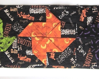 Halloween 3-D Pinwheel Table Runner with Bats, Spiders, Moons and Bright Colors Quiltsy Handmade