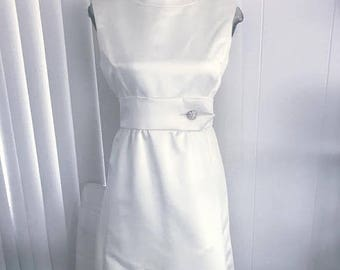40% OFF Christmas in July Amazing Vintage Deadstock 1960's White Sateen Party Dress -- Size M