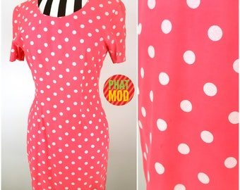Girly 90s Coral Pink & White Polkadot Dress by My Michelle