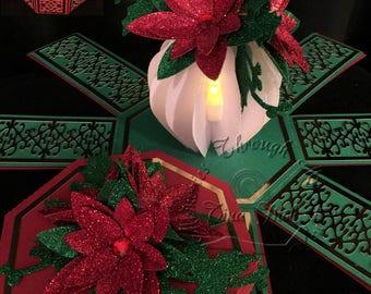 Floral Vase Tea Light  Exploding box TF0181 ,SVG,Cricut,Cameo,Silhouette,ScanNCut