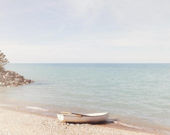 Chicago Lakefront, Lake Michigan Photography, White Boat Wall Art - Photograph of Water, Row Boat, Muted,  Neutral Decor, Chicago Home Decor