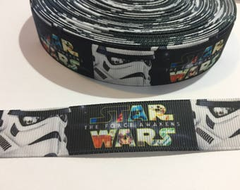 3 Yards of Ribbon - Black and White Storm Trooper Star Wars 7/8 inch wide