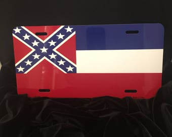 State of mississippi flag cartag license plate