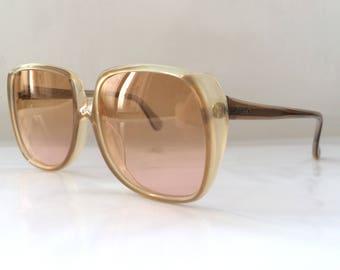 80s Vintage German Caramel Brown Square Frame Sunglasses
