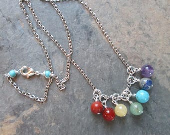 Chakra Necklace - Chakra Gemstones on Silver Chain - Metaphysical / Spiritual / Reiki / Yoga Jewelry