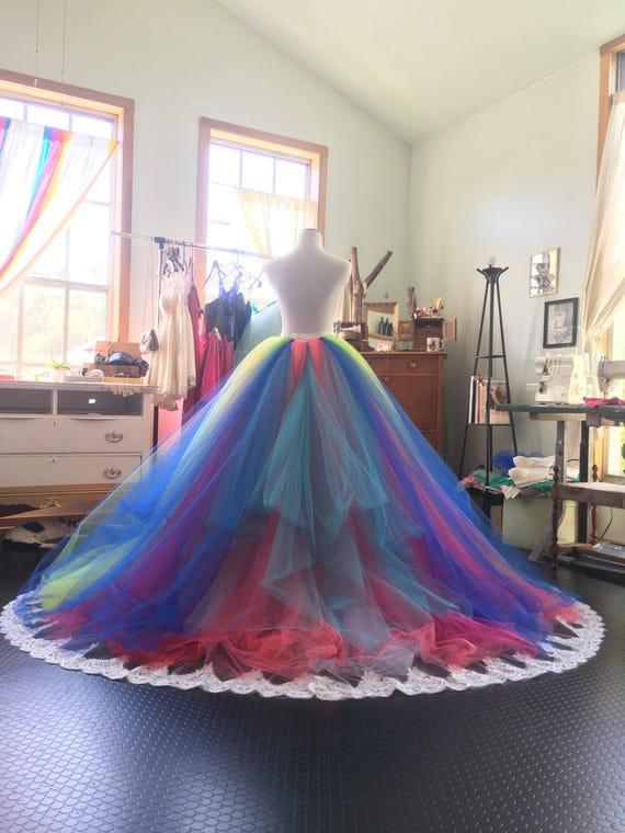 Rainbow wedding dress rainbow gown tutu dress bridal gown like this item junglespirit Image collections