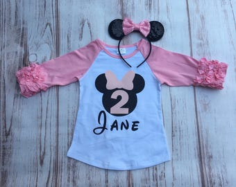 Light pink Minnie Mouse birthday shirt and headband set Disney Minnie Mouse ruffle raglan shirt mouse ears headband