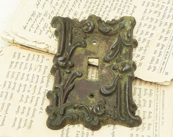 Vintage Brass Light Switch Wall Plate Cover Flowers Architectural Salvage