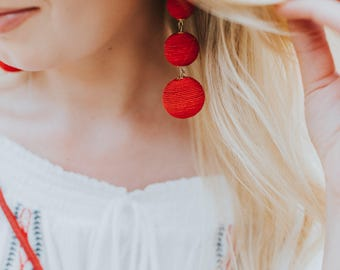 Red 3 Ball Bon Bon Earrings