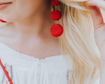 Red 3 Ball Bon Bon Earrings